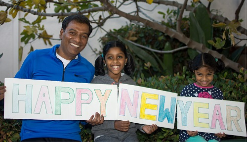 Happy New Year from Me and My Daughters (Diya and Neha)