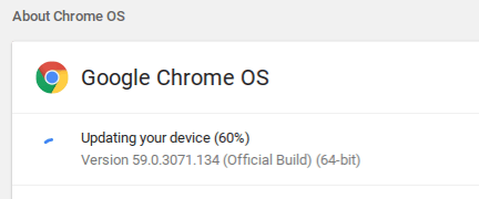 Chrome OS Update - Updating